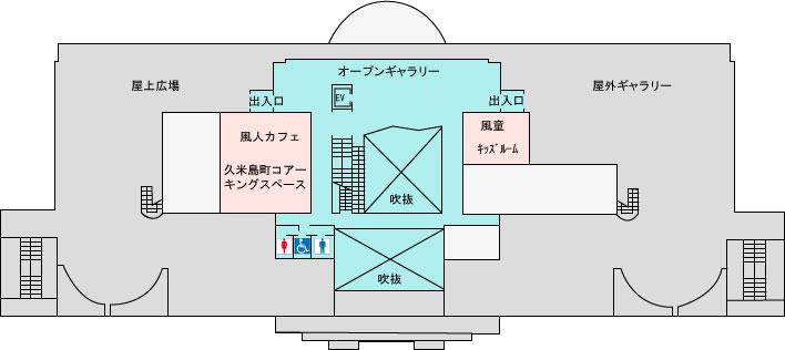 久米島空港ターミナル案内 2階 オープンギャラリー 屋外庭園 展望台