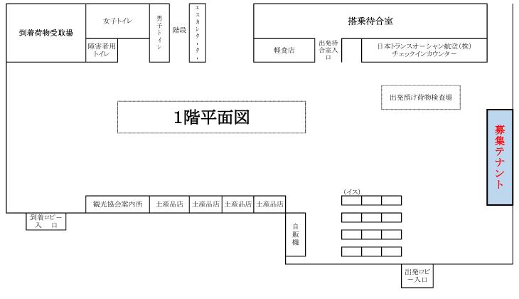久米島空港1階平面図,テナント募集,事務所空あり,テナント・貸し事務所等募集について